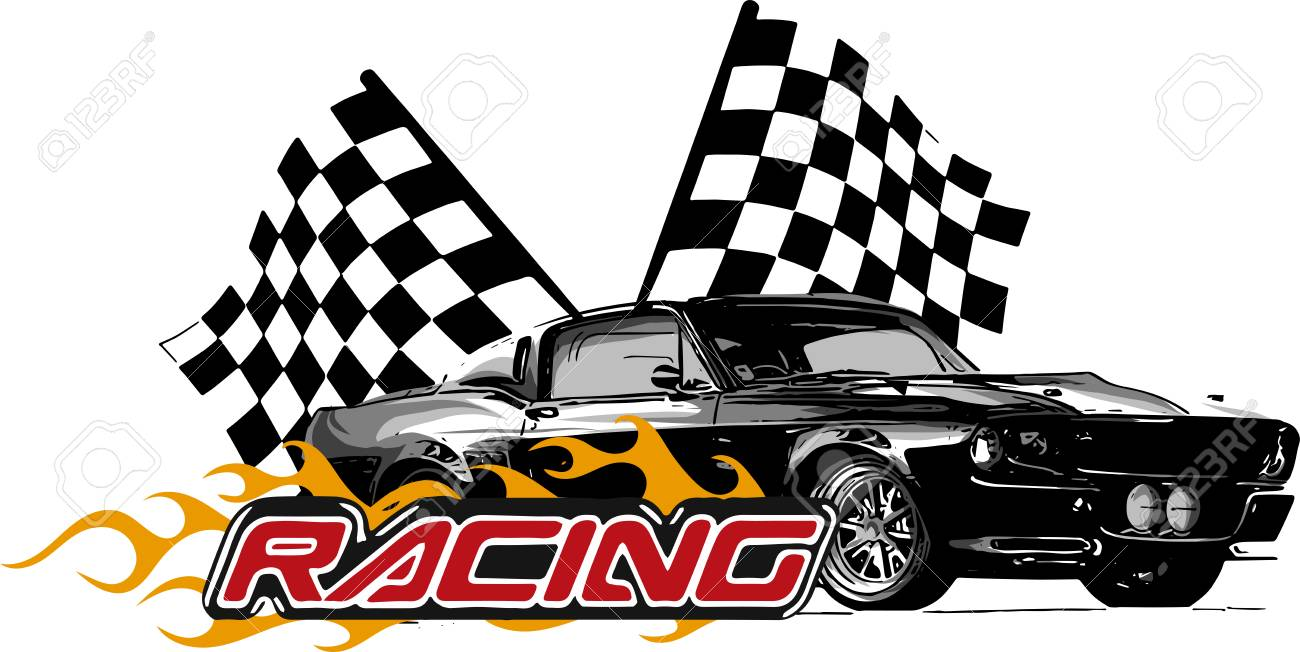 Vector Illustration Muscle Car With Flames And Race Flag Stock Photo