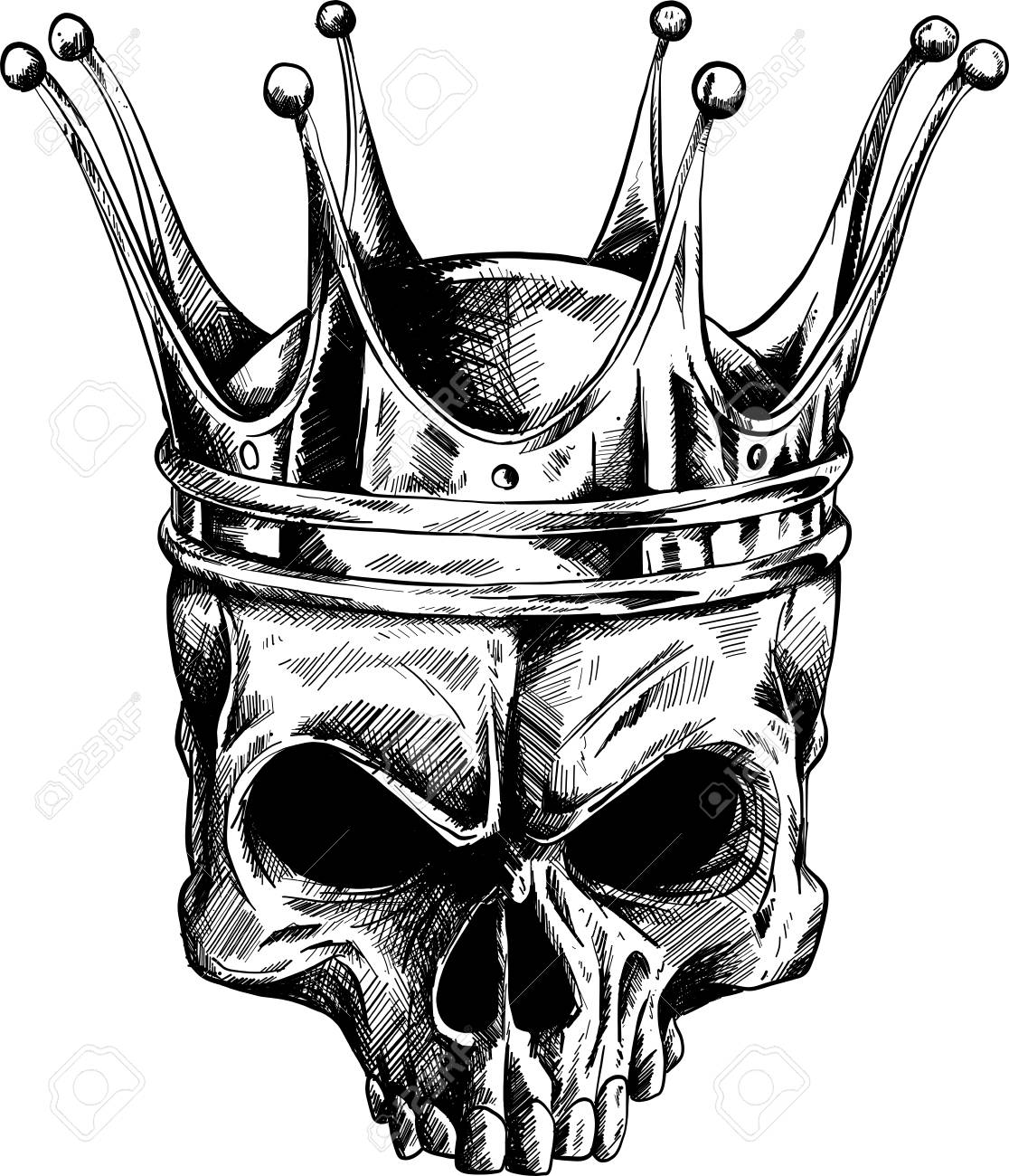 Illustration Of Black And White Skull In Crown With Beard Isolated Stock Photo Picture And Royalty Free Image Image 110703663
