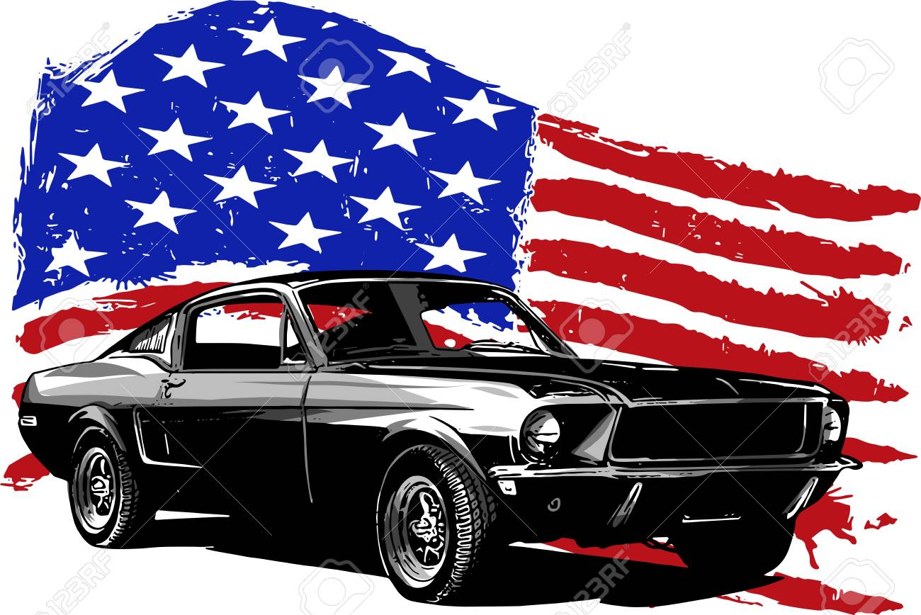 vector graphic design illustration of an american muscle car royalty