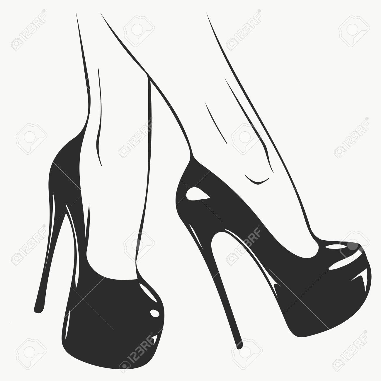 Vector Girls In High Heels. Fashion