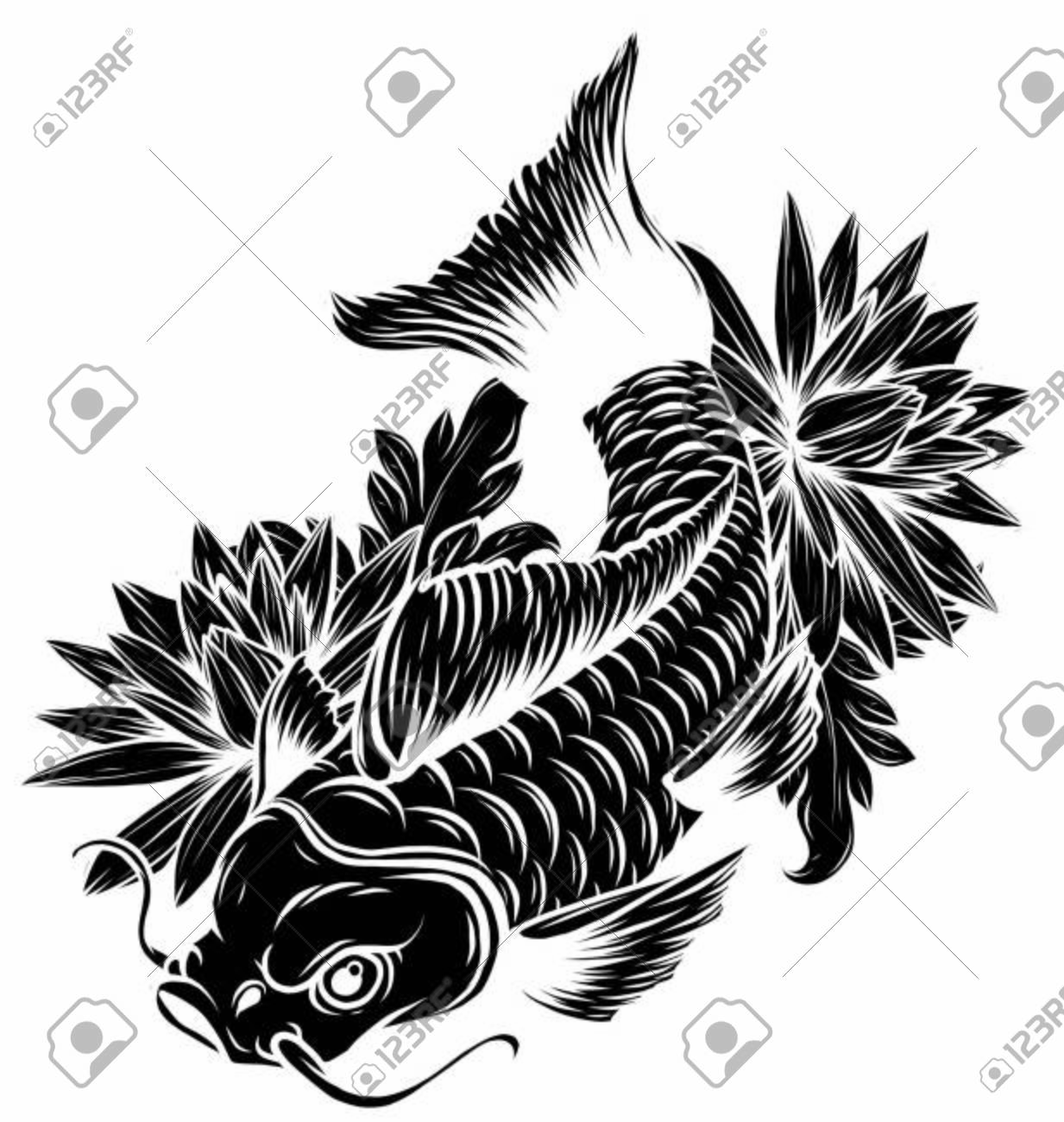 Hand Drawn Outline Koi Fish Gold Japanese Carp With Lotus Flowers Royalty Free Cliparts Vectors And Stock Illustration Image 135838818
