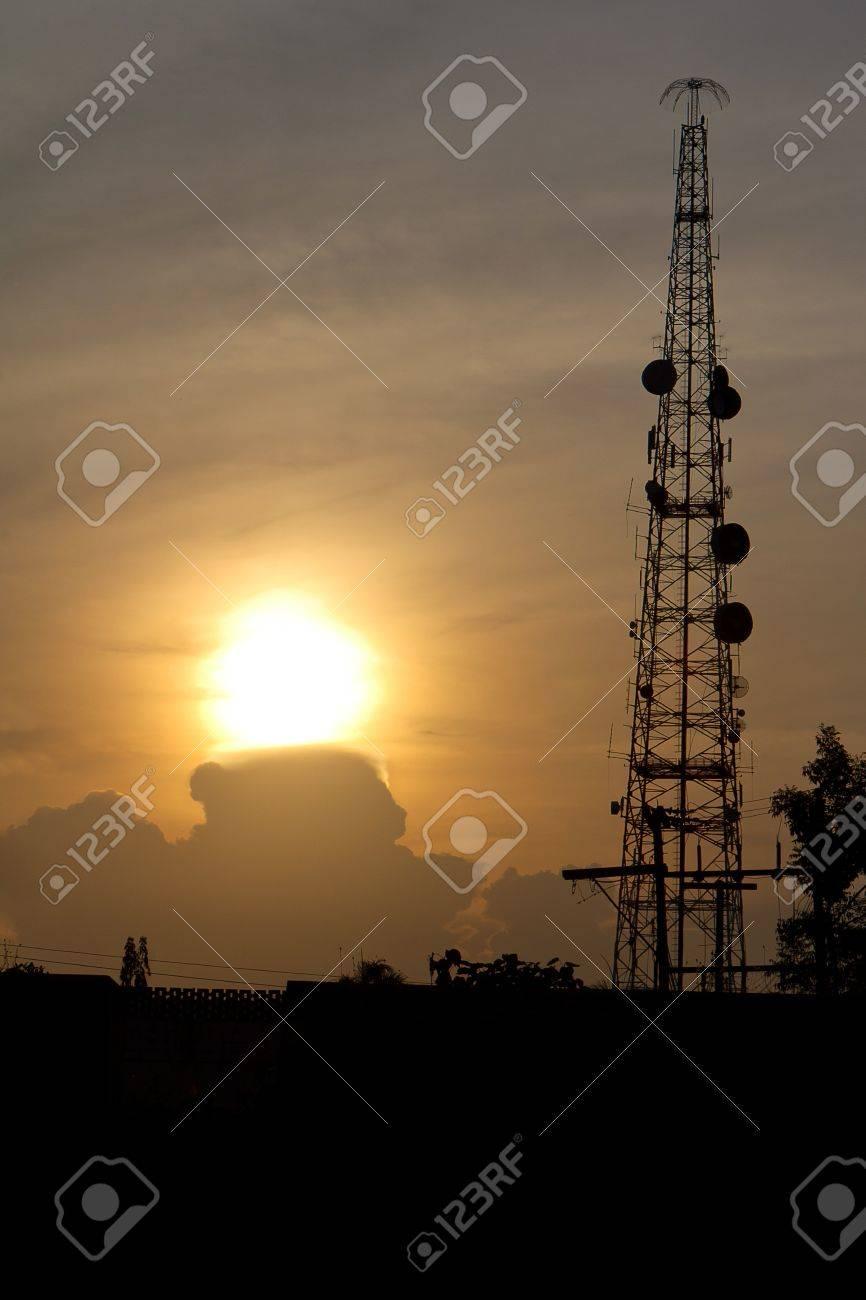 radio tower before sun set Stock Photo - 9816772
