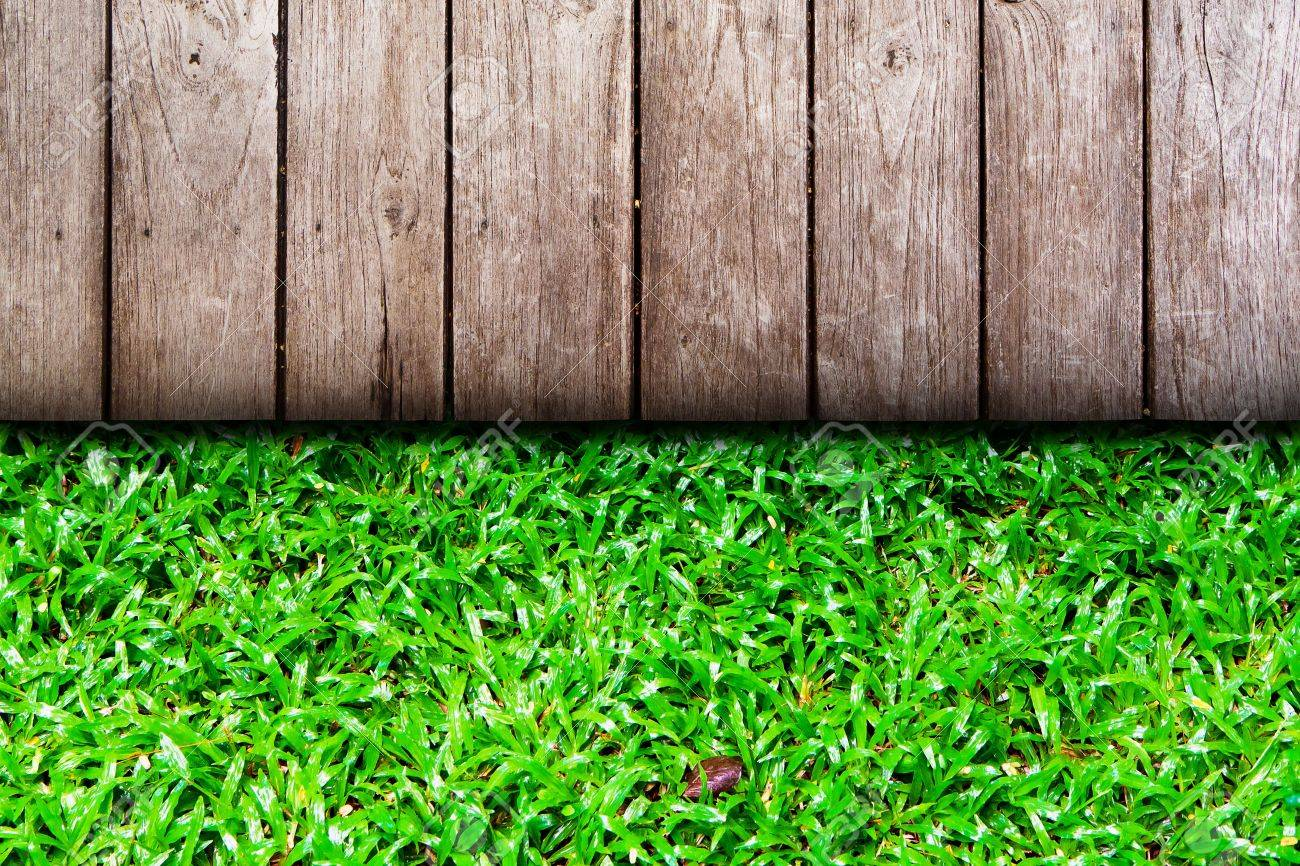 wooden wall and grass Stock Photo - 10343221