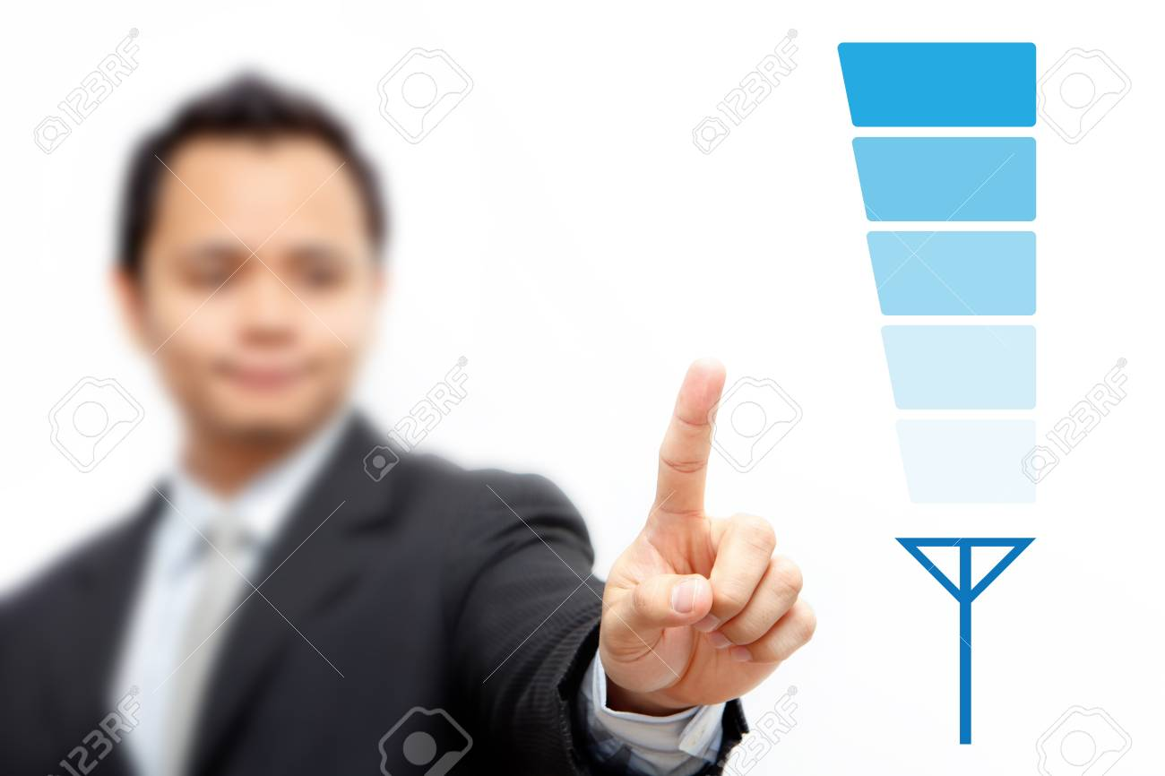 Business man to blue signal level Stock Photo - 11122998
