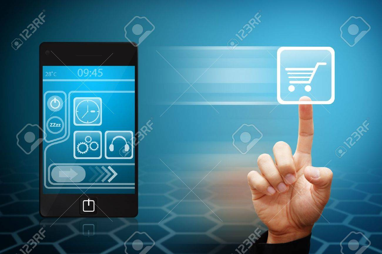 Smart Hand touch the cart icon from mobile phone Stock Photo - 12425255