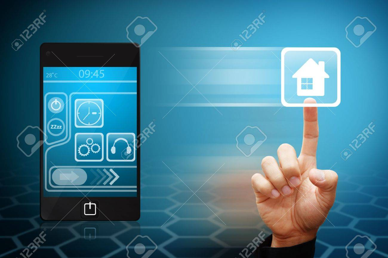 Smart Hand touch the house icon from mobile phone Stock Photo - 12425249