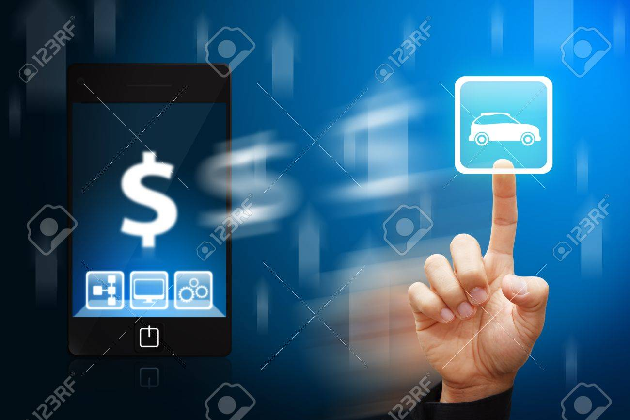Smart hand touch the car icon from mobile phone Stock Photo - 12425541