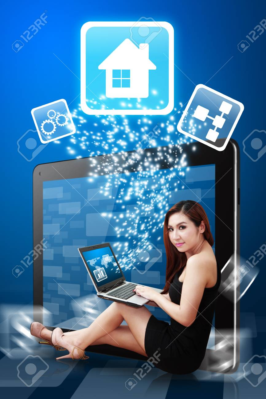 Business woman present the House icon Stock Photo - 12995002