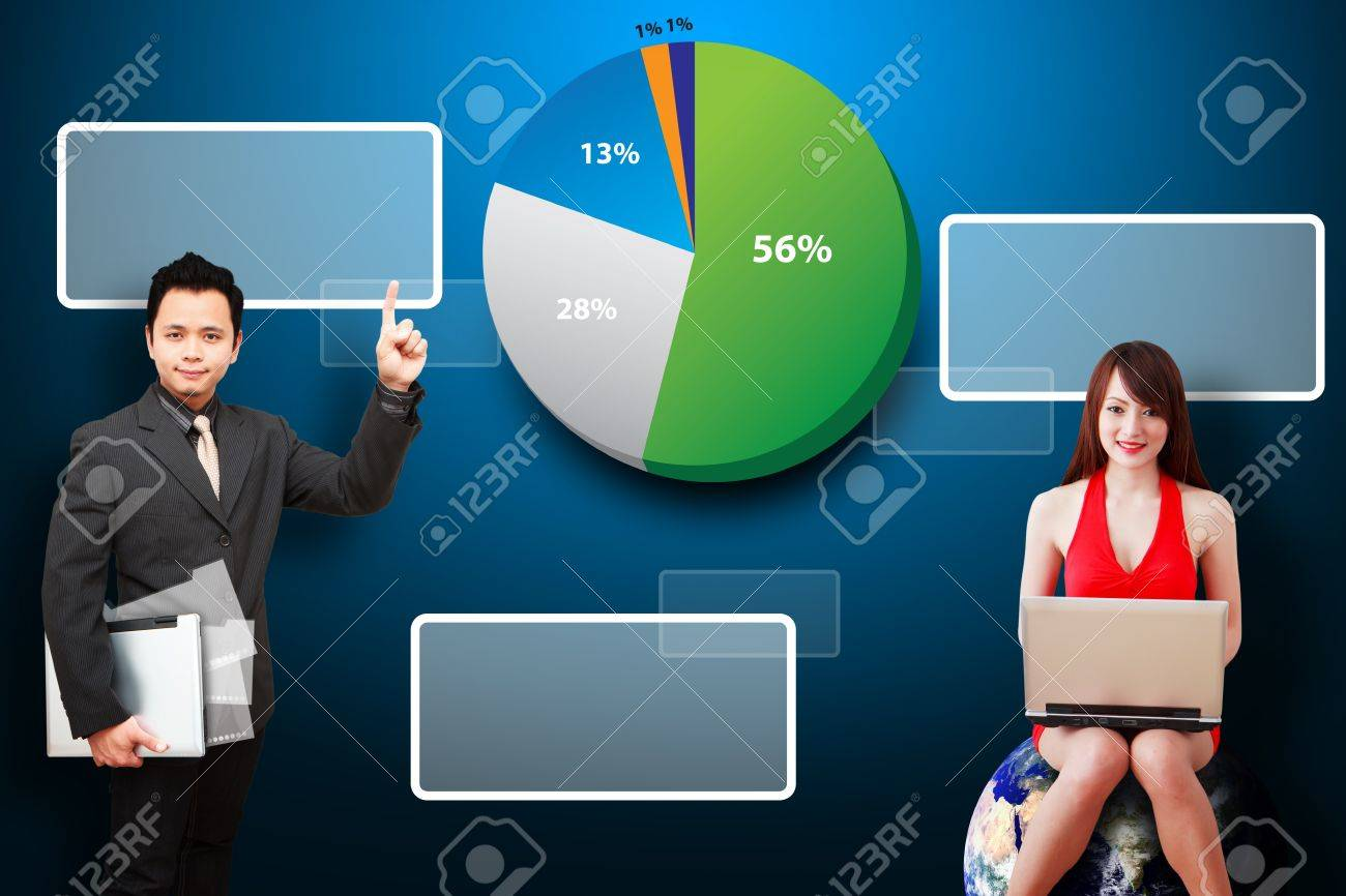 Business man and secretary present the stock exchange graph report Stock Photo - 12995155
