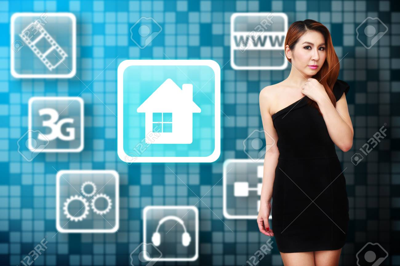 Woman and House icon Stock Photo - 12995143