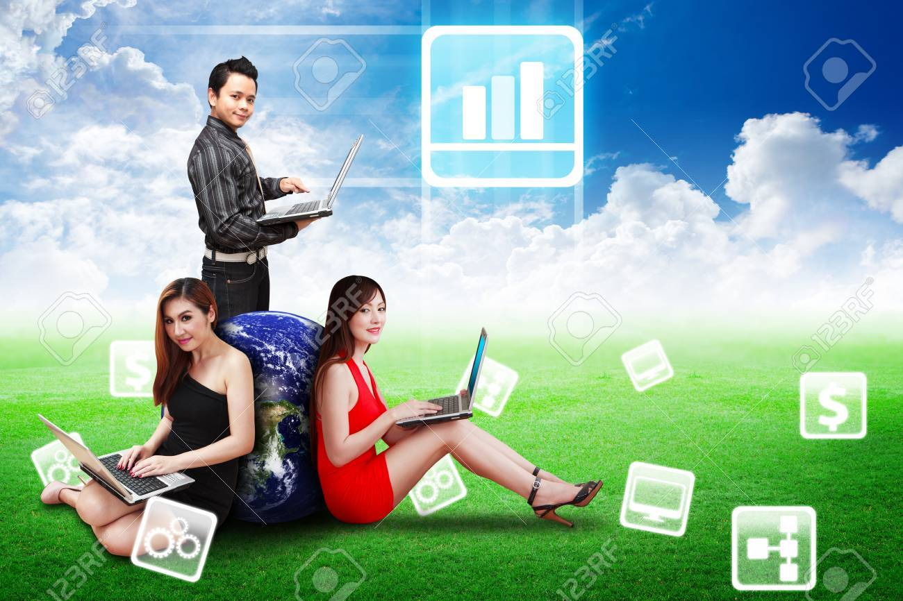 Business Team present Bar graph icon on the sky and grass field Stock Photo - 13647185