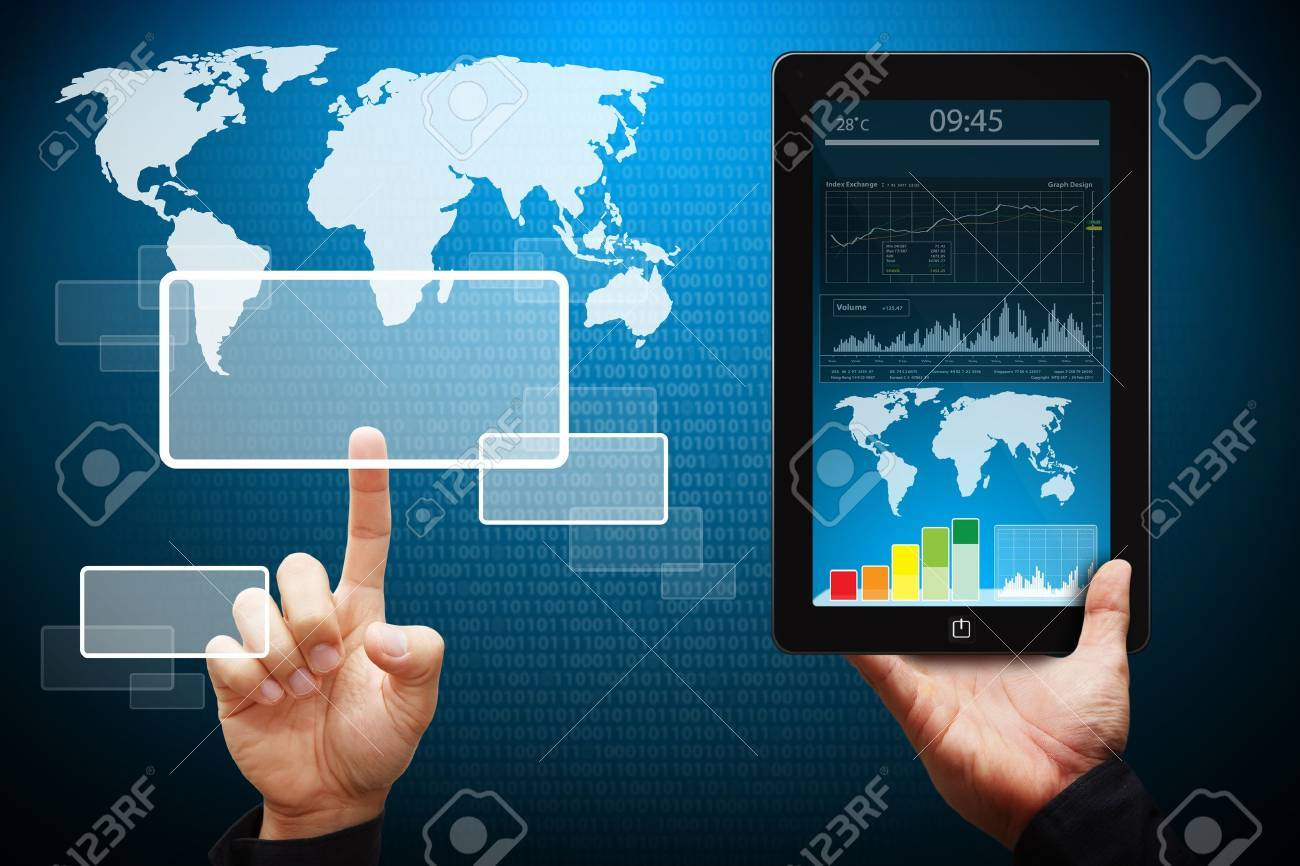 Hand touch on windows icon from tablet pc Stock Photo - 13630162