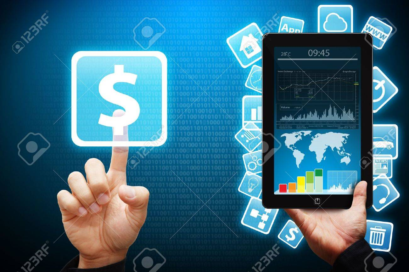 Smart hand touch on Money icon from Tablet pc Stock Photo - 13630245