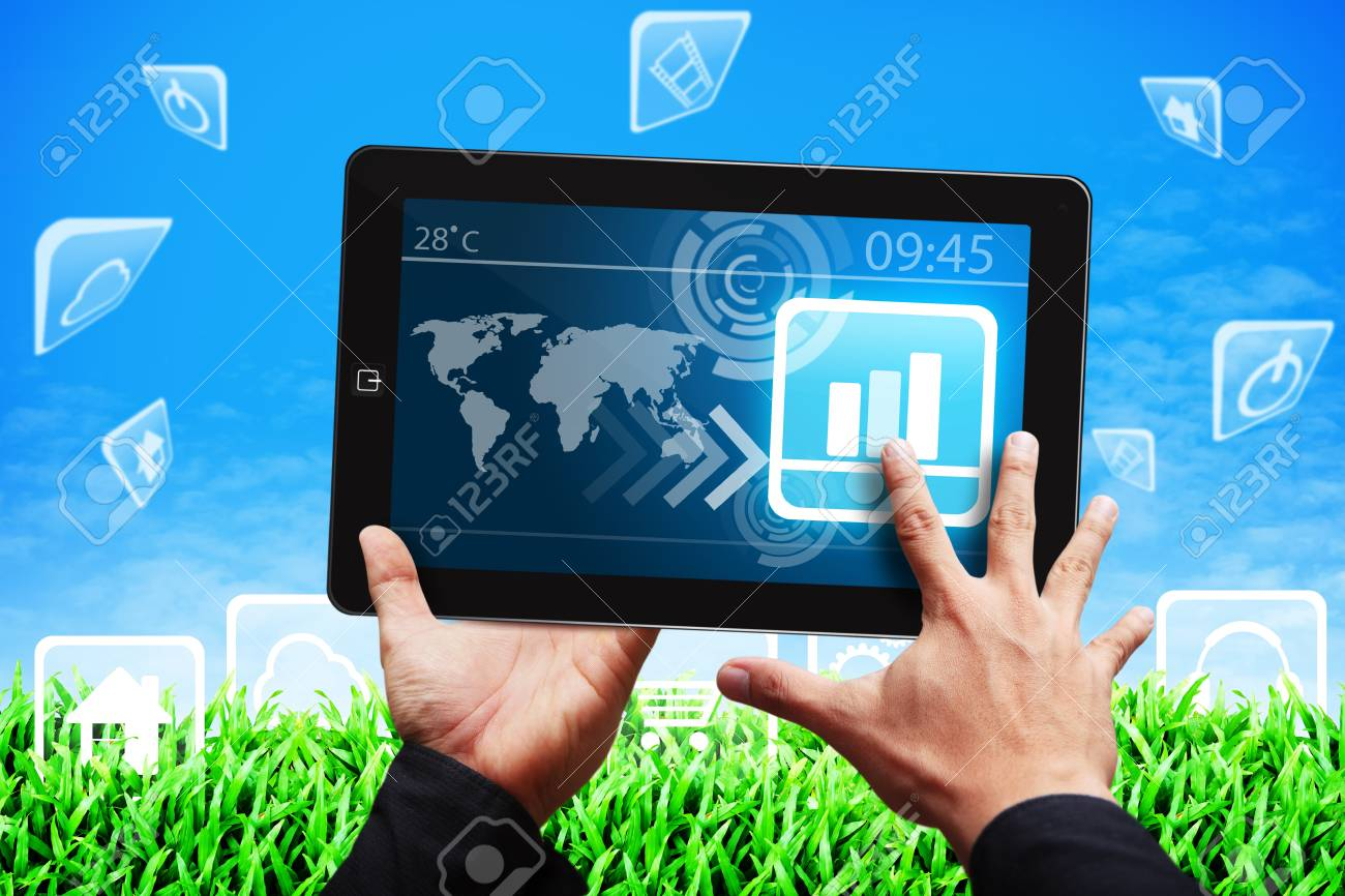 Smart hand press on graph icon on tablet pc Stock Photo - 14010060