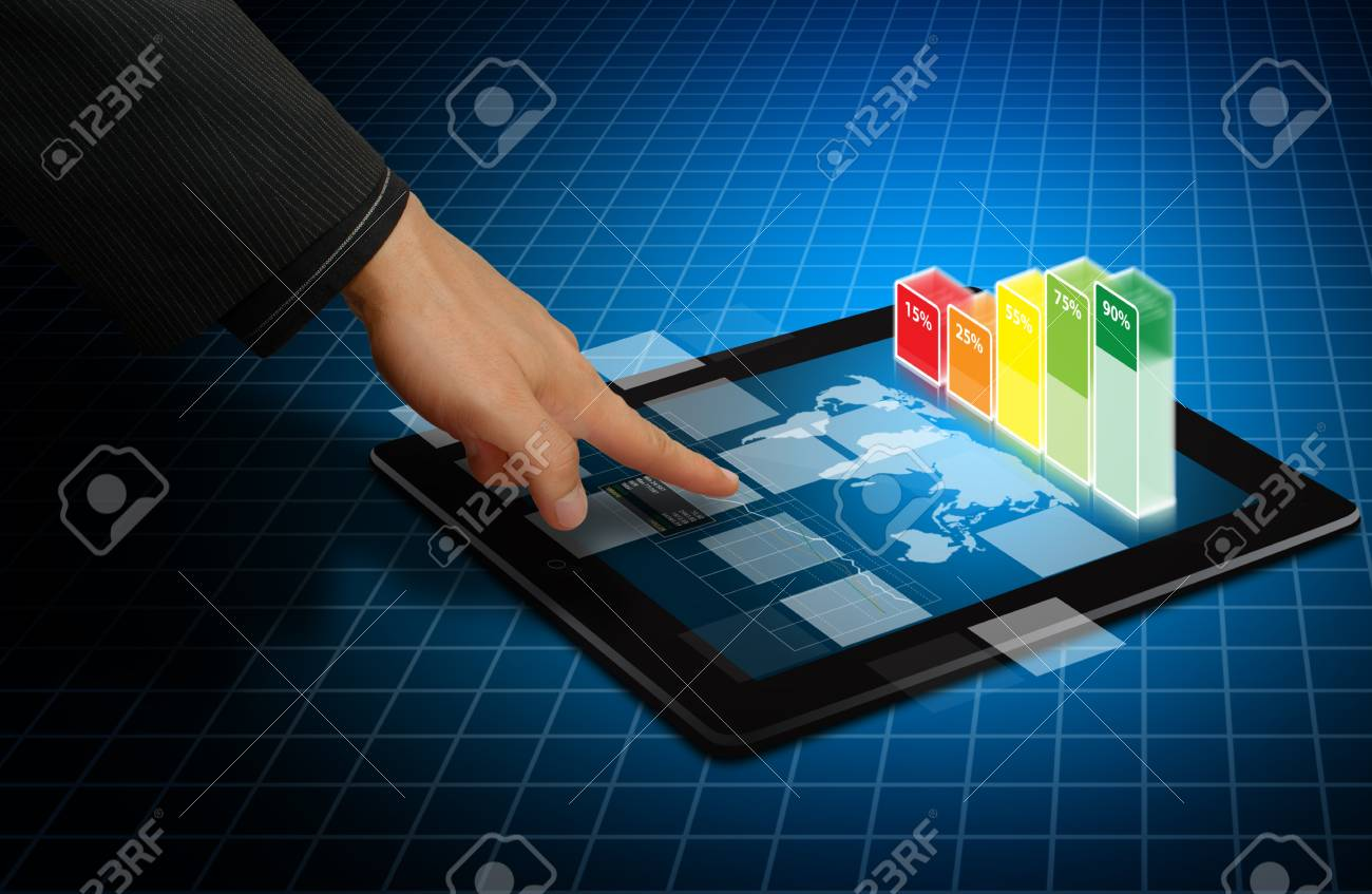 Digital touch pad and graph report Stock Photo - 14396310