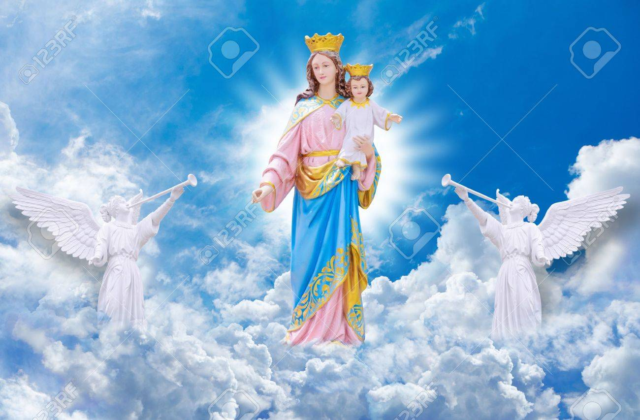 jesus and mary on heaven stock photo, picture and royalty free image