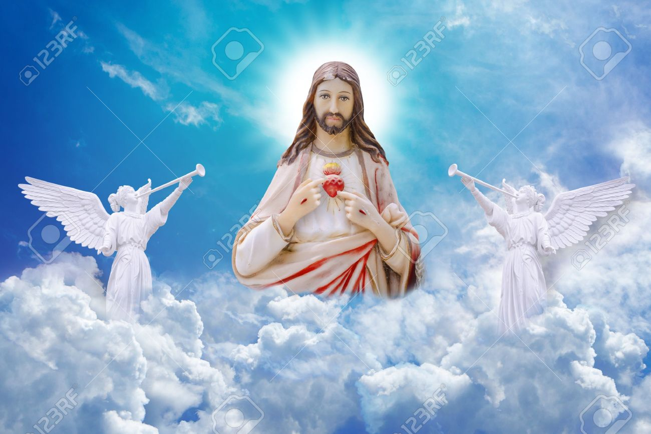 jesus christ on heaven stock photo, picture and royalty free image