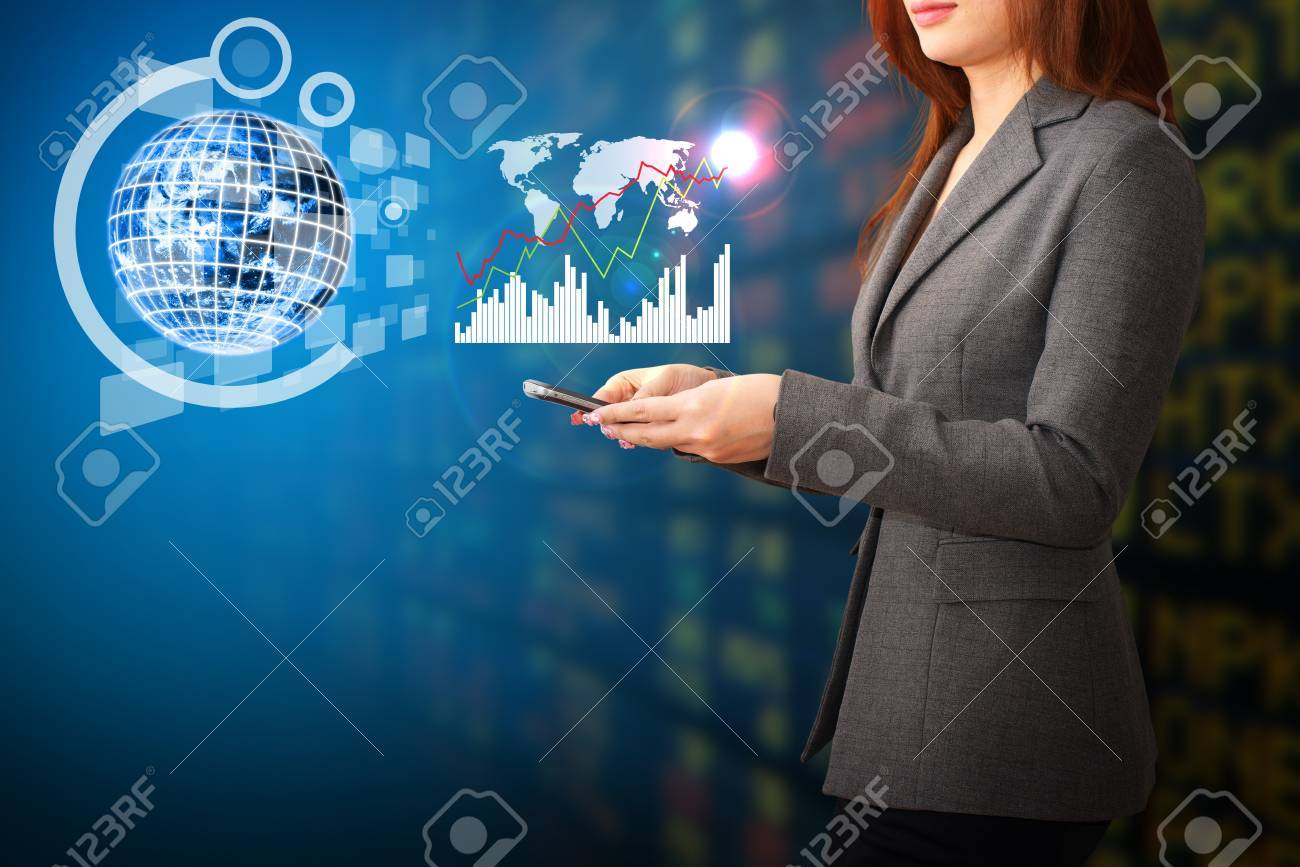 Lady and graph report Stock Photo - 14760663