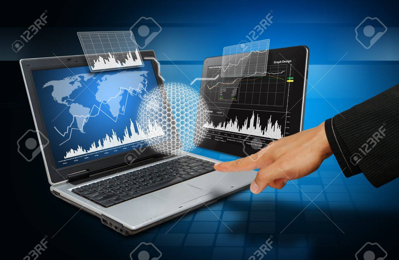 Smart hand touch on 3D graph Stock Photo - 14760463