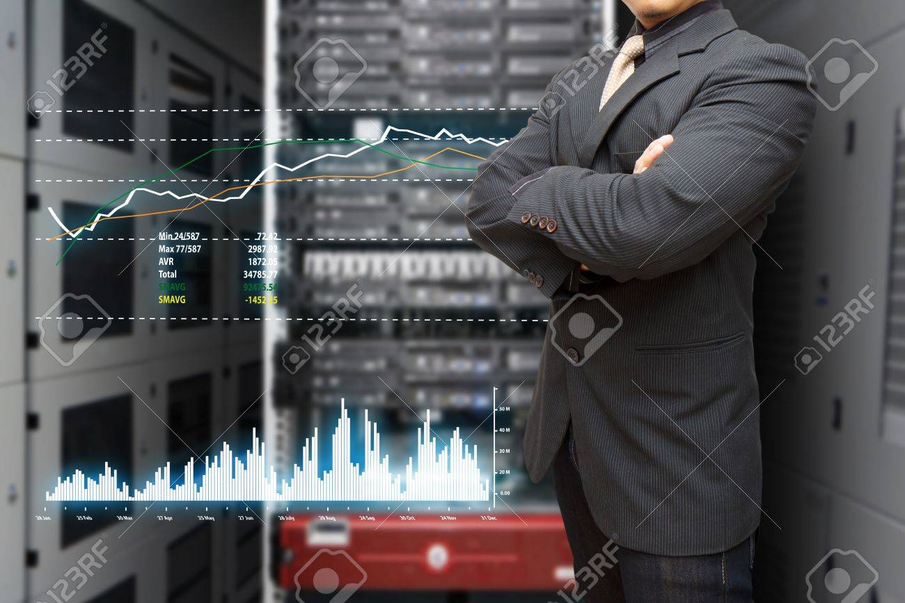 Programmer and graph report to monitor the system in data center room Stock Photo - 15114922