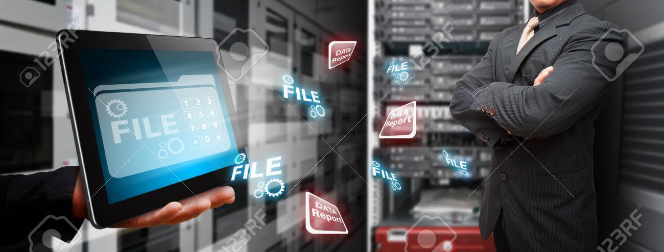 Programmer in data center room and data file system on touch pad Stock Photo - 15115087