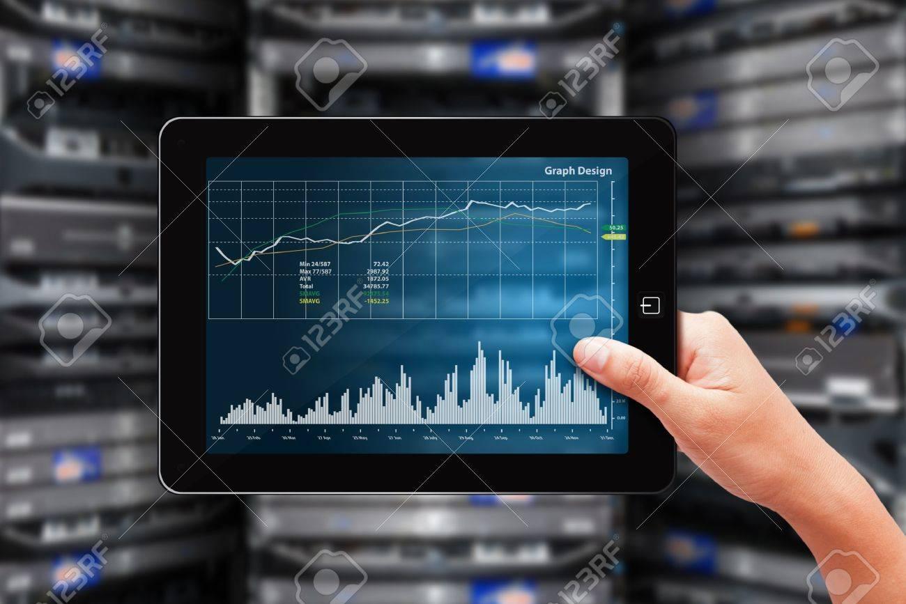 Graph monitor in data center room Stock Photo - 15655751