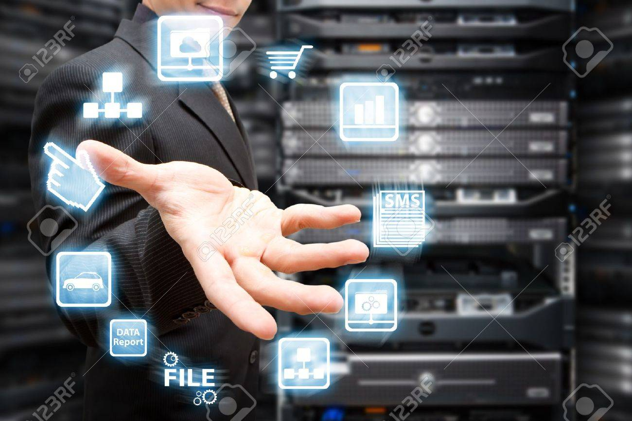Programmer and icon control the system in data center room Stock Photo - 16861152