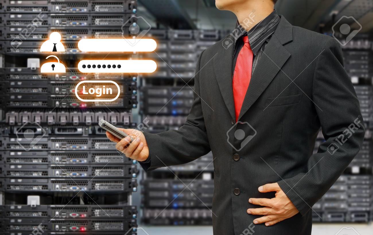 Programmer in data center room Stock Photo - 16861223