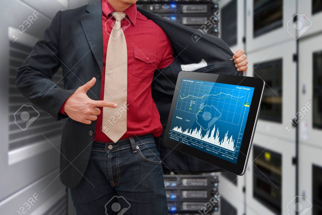 Smart hand press on digital tablet with graph report Stock Photo - 17519500