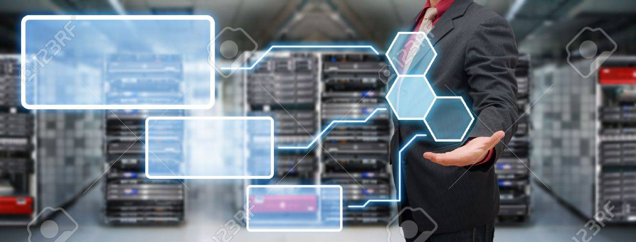 Programmer in data center room and window icon Stock Photo - 17518406