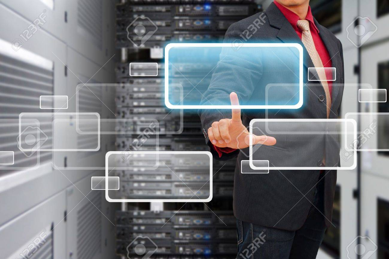 smart hand touch on window icon in data center room Stock Photo - 17518348