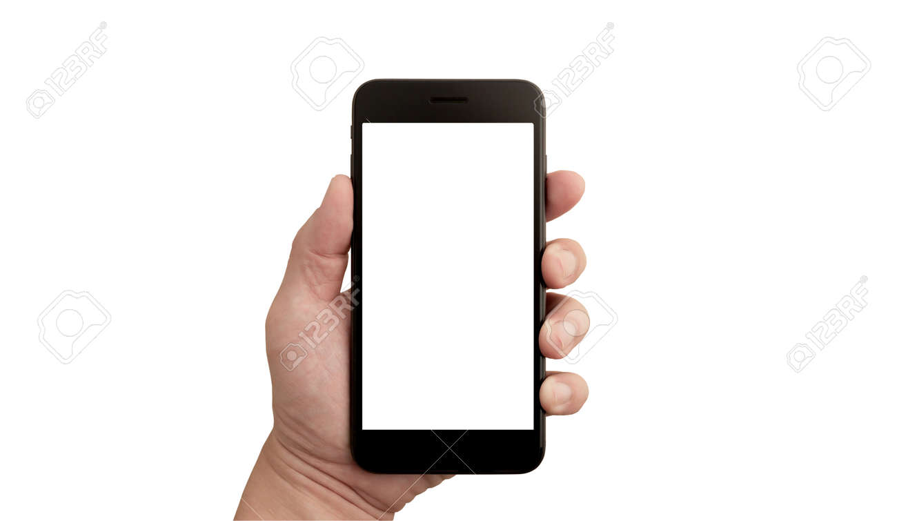Left hand of a white man holding a black mobile phone and a white screen at a isolate background - 169151929