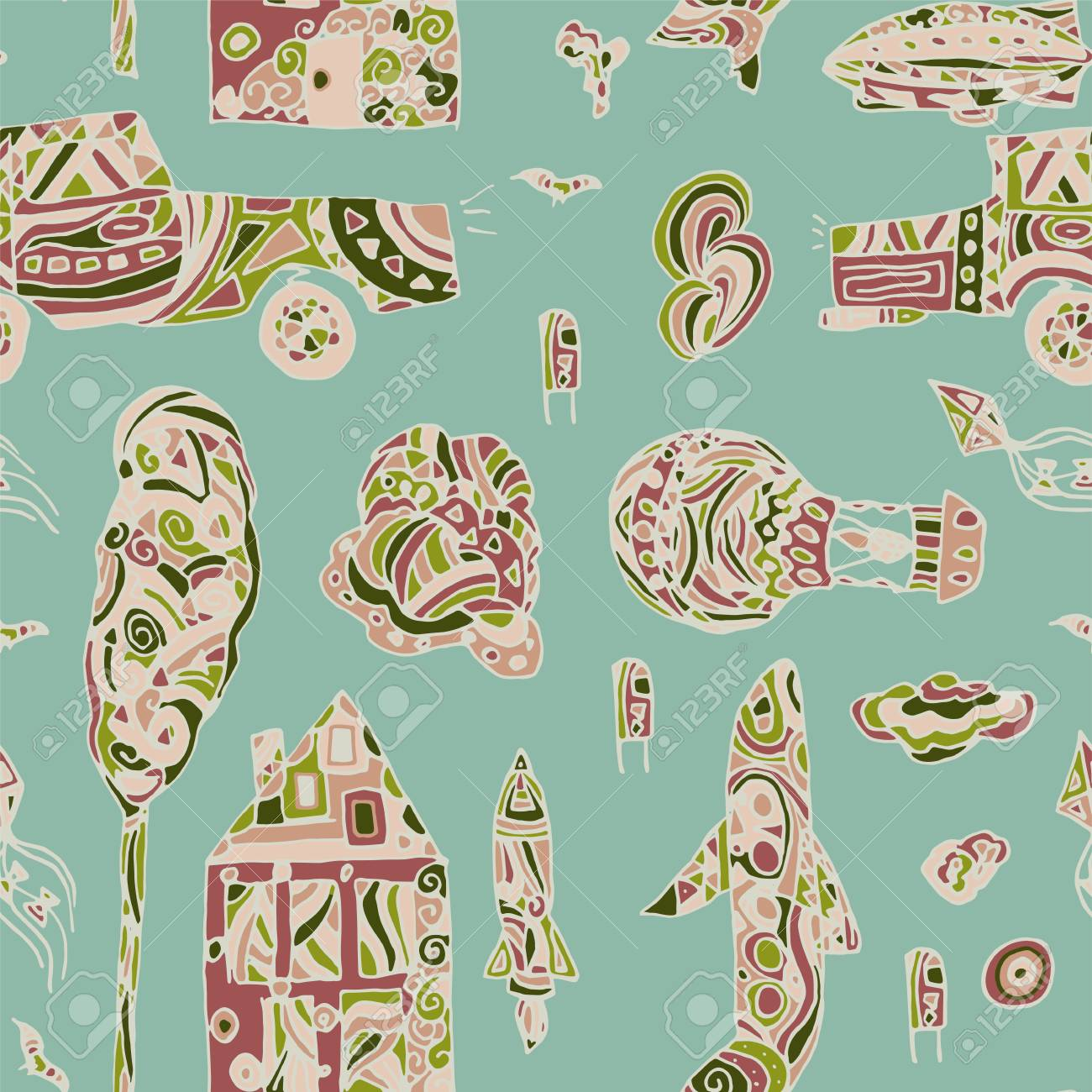 Doodle Hand Drawn Town Seamless Pattern Pastel Abstract Wallpaper Vector Illustration For Your Cute