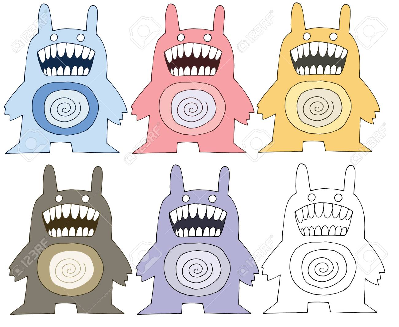 Print Cartoon Doodles Scary Funny Monster Color Set Hand Draw Royalty Free Cliparts Vectors And Stock Illustration Image 129794743 Are you searching for cartoon crown png images or vector? print cartoon doodles scary funny monster color set hand draw