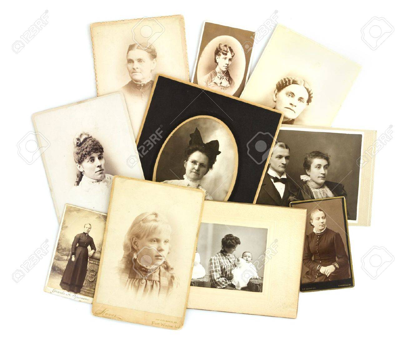 Antique Photos Collage on Isolated White Background Stock Photo - 16585459