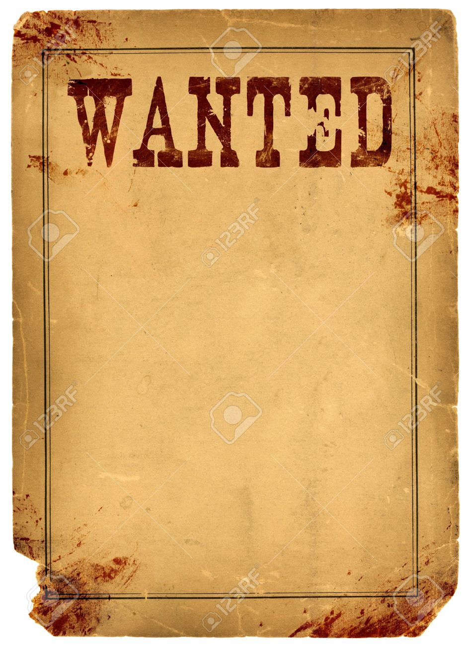 Bloody Stained Old Western Wanted Poster Made From Real Antique 1800s Paper  Stock Photo   18538739