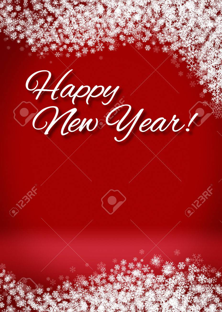 Happy New Year Snowy Blank 3D Greeting Card Background Template – New Year Greeting Card Template