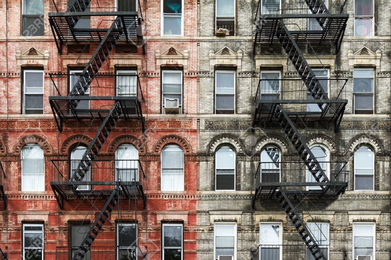 Old Brick Apartment Buildings In The East Village Of Manhattan, New York  City Stock Photo