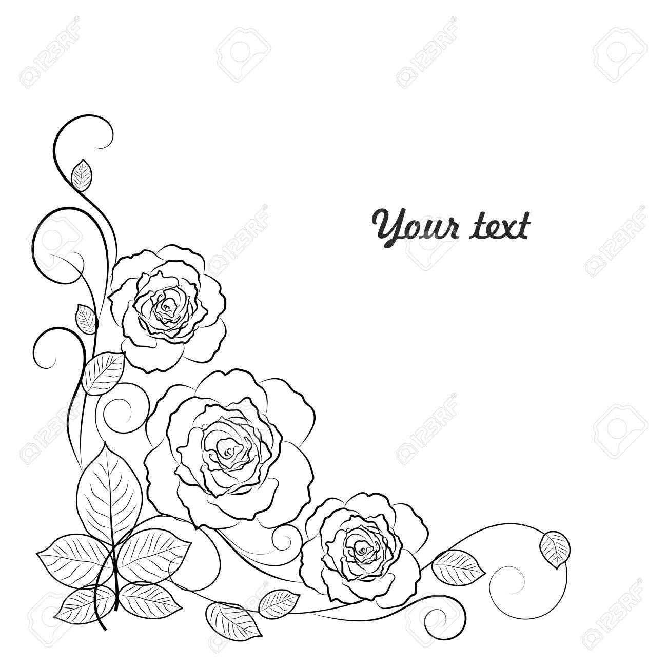 Simple Floral Background In Black And White With Place For Your