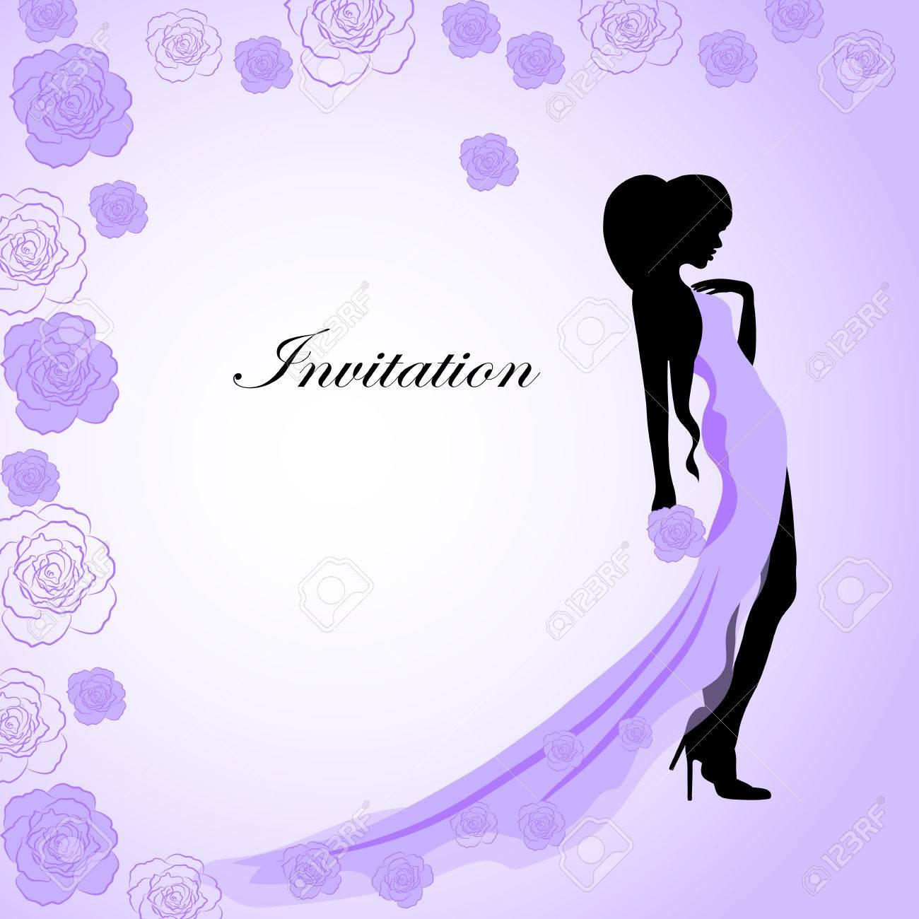 Tarjeta De Invitación Con Una Bella Silueta De Una Niña En Vestido ...