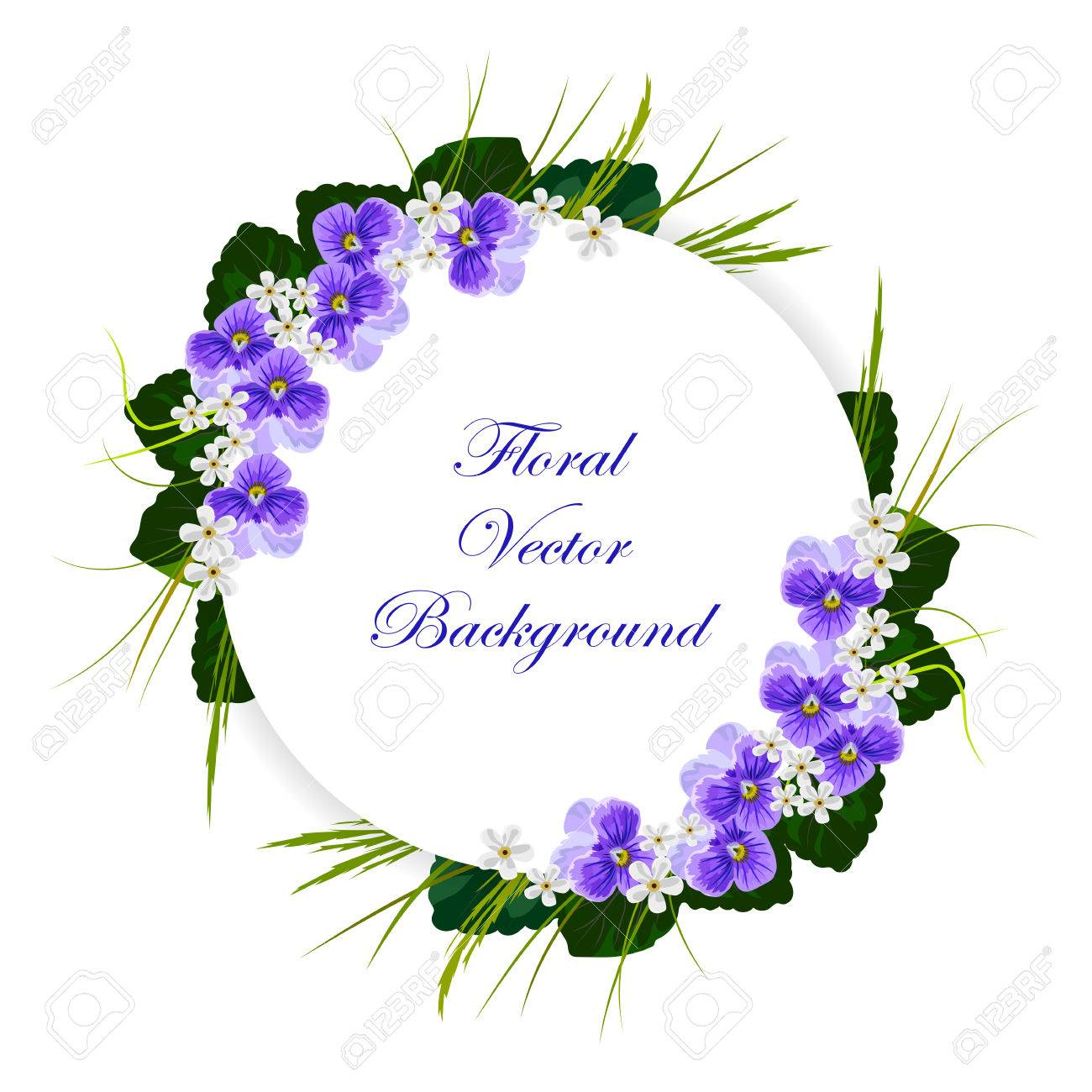 Floral Vector Background Composition Of Violets White Flowers