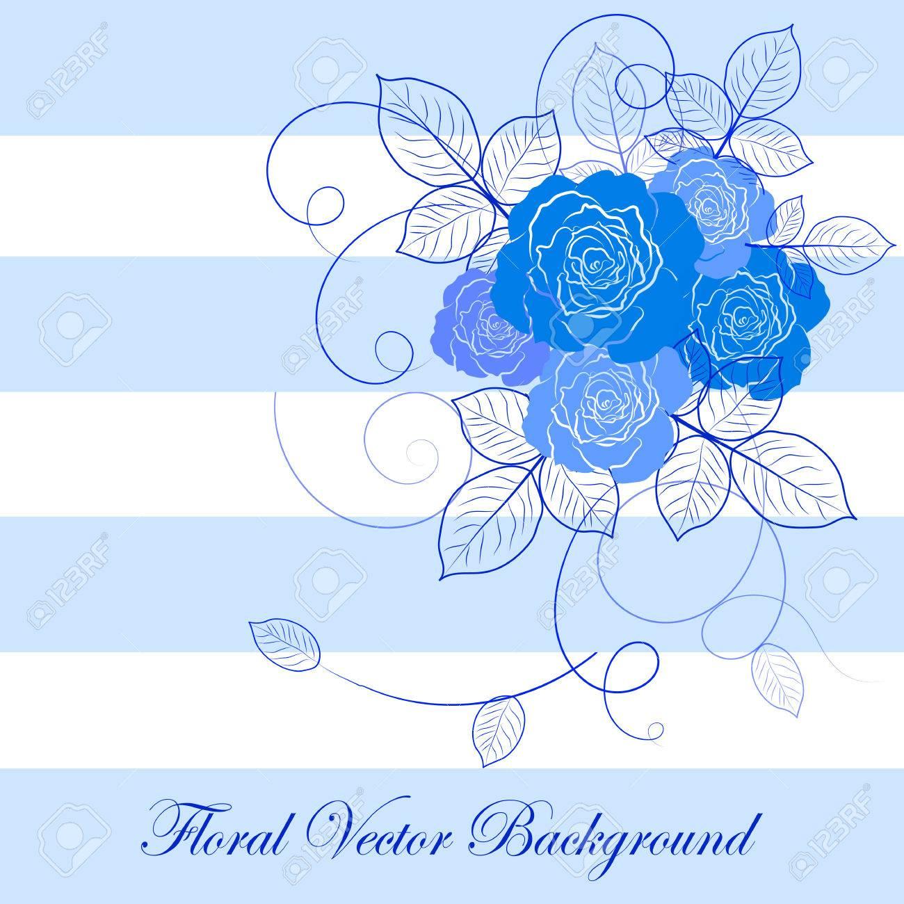 Ilustración Vectorial Vloral Con Hermosas Rosas Azules Fondo Azul Y