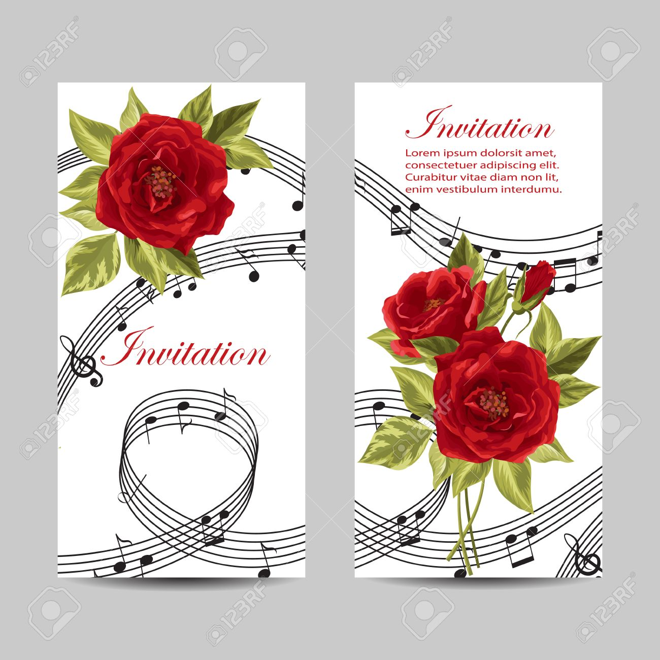 Set Of Wedding Invitation Cards Design. Beautiful Red Roses And ...