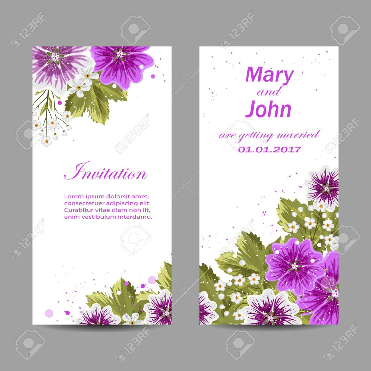 Set Of Wedding Invitation Cards Design Beautiful Purple Flowers