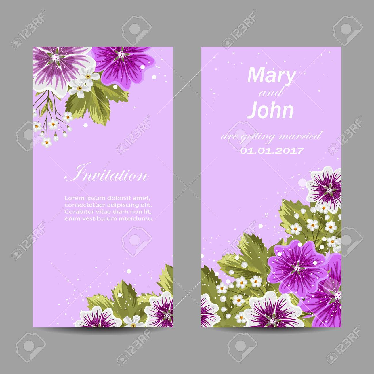 Set Of Wedding Invitation Cards Design Beautiful Mallow Flowers