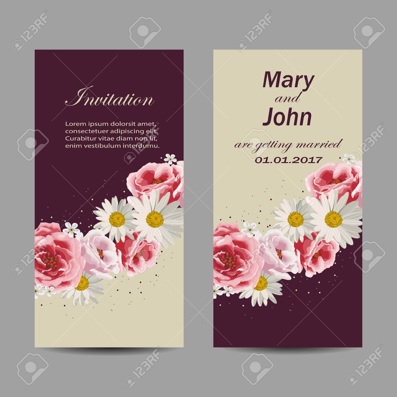 Set Of Wedding Invitation Cards Design Beautiful Flowers On