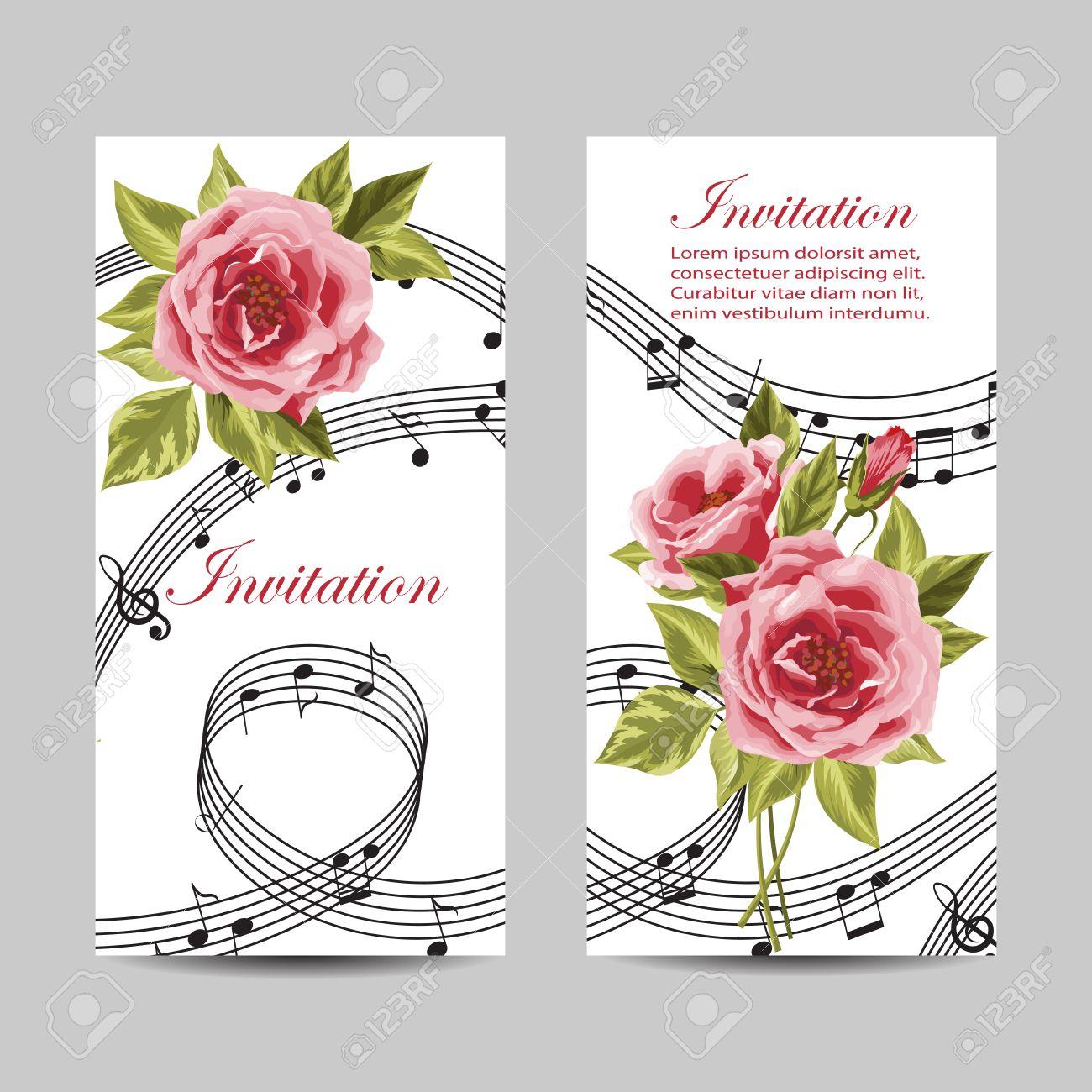 Set of wedding invitation cards design beautiful pink roses set of wedding invitation cards design beautiful pink roses and music notes on white background stopboris Images