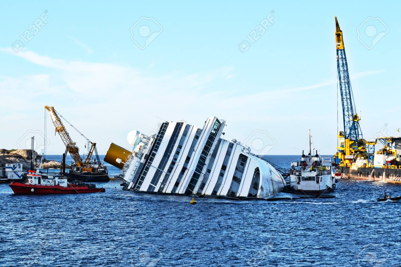 demolition of a cruise ship sunk off the island of Giglio, Italy - 87009337
