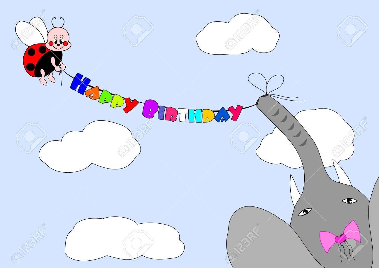 happy birthday - ladybird and elephant congratulate Stock Vector - 10063507
