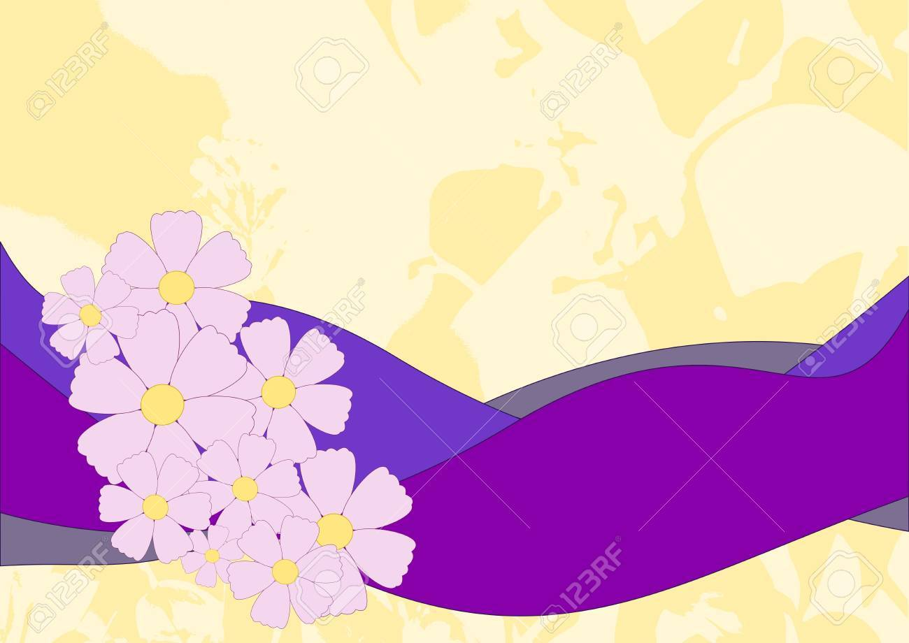 pink flowers on yellow background Stock Vector - 10063514